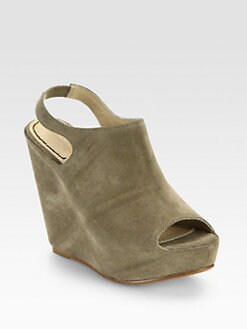 Elizabeth and James - Holly Suede Wedge Slingback Sandals