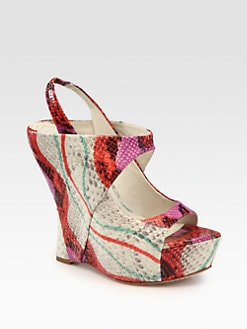 Alice + Olivia - Delilah Snake-Print Leather Slingback Platform Wedge Sandals
