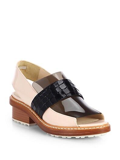 Darwin Mixed Media Open-Toe Loafers