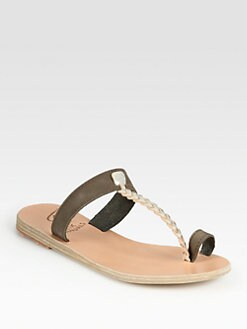 Ancient Greek Sandals - Melpomeni Leather & Braided Metallic Leather T-Strap Sandals