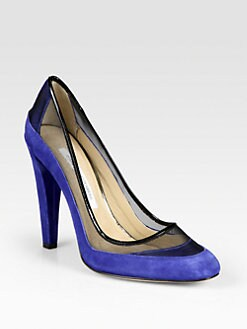 Diane von Furstenberg - Darlena Suede, Mesh and Patent Leather Pumps