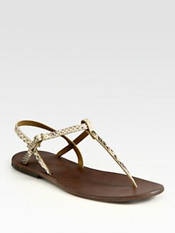 Ishvara - Python Slingback T-Strap Sandals