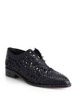 FREDA SALVADOR - Wish Studded Woven Leather Loafers
