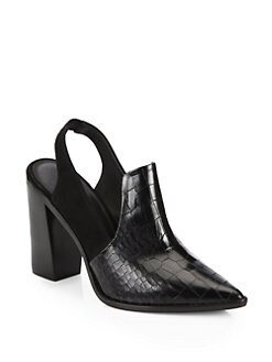 Tibi - Maude Suede & Embosssed Leather Slingbacks