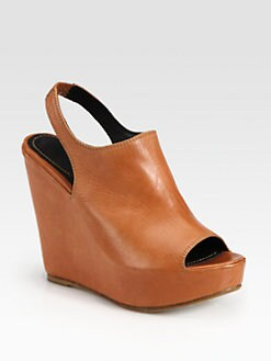 Elizabeth and James - Leather Slingback Wedge Platform Sandals