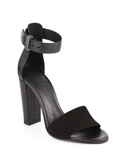 Vince - Serena Suede & Embossed Leather Ankle Strap Sandals