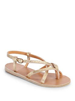 Ancient Greek Sandals - Semele Strappy Metallic Leather Sandals