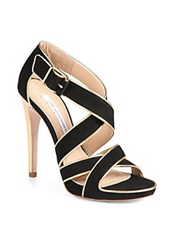 Diane von Furstenberg - Strappy Suede and Metallic Leather Platform Sandals