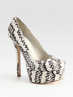 Alice + Olivia - Larimore Snake-Print Leather Platform Pumps