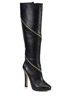 Diane von Furstenberg - Cambria Zipper-Trimmed Leather Boots