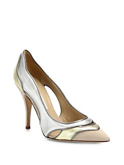 Diane von Furstenberg - Bobbie Metallic Leather & Suede Pumps