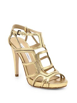 Diane von Furstenberg - Jeanette Metallic Leather Cage Sandals