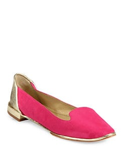 Diane von Furstenberg - Carley Suede & Metallic Leather Smoking Slippers