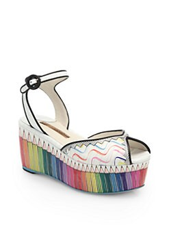 Sophia Webster - Suki Scribble Pencil-Print Leather Platform Sandals