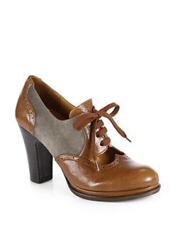 Chie Mihara - Brizna Leather & Suede Lace-Up Oxford Pumps