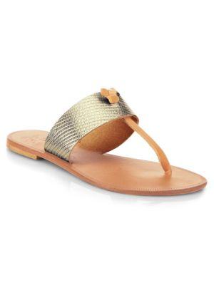 Nice Metallic Leather Thong Sandals