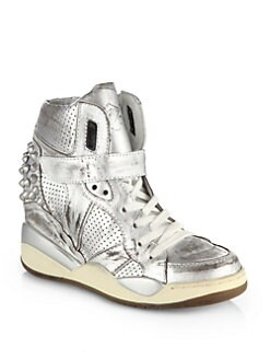 Ash - Freak Studded Metallic Leather Wedge Sneakers