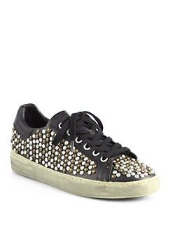 Ash - Soda Studded Leather Sneakers