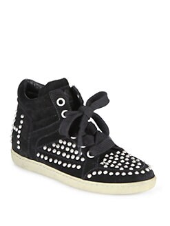 Ash - Zest Bis Studded Suede Wedge Sneakers