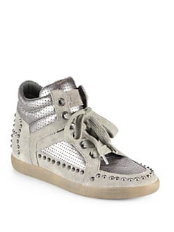 Ash - Zest Ter Studded Suede & Leather Wedge Sneakers