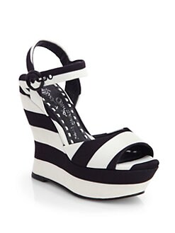 Alice + Olivia - Jana Striped Canvas Wedge Sandals
