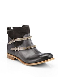 Alberto Fermani - Emma Studded Leather & Suede Ankle Boots