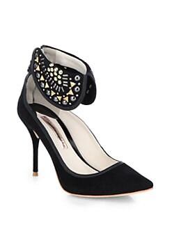 Sophia Webster - Leandra Studded Suede Ankle-Strap Pumps