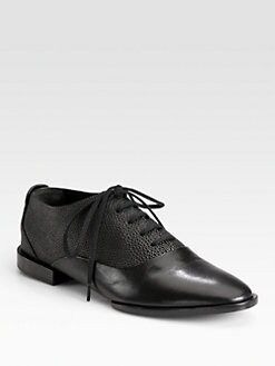 Alexander Wang - Ingrid Stingray-Embossed Leather Lace-Up Oxfords