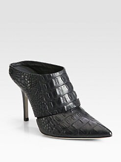 Alexander Wang - Dina Crocodile-Embossed Leather Mules