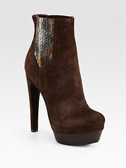 Rachel Zoe - Audrey Suede and Snakeskin Platform Ankle Boots
