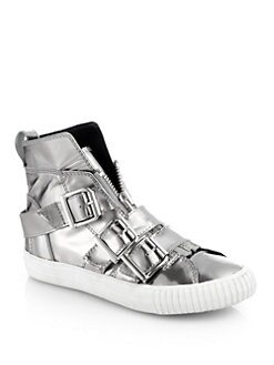 3.1 Phillip Lim - Lyon Metallic Leather Buckle Sneakers