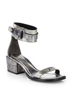 3.1 Phillip Lim - Coco Metallic Sheepskin Mid-Heel Sandals