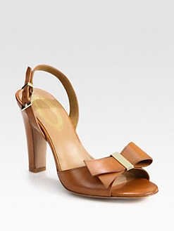 Elie Tahari - Alice Leather Bow Slingback Sandals