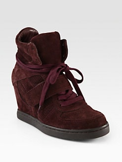 Ash - Suede Lace-Up Wedge Sneakers