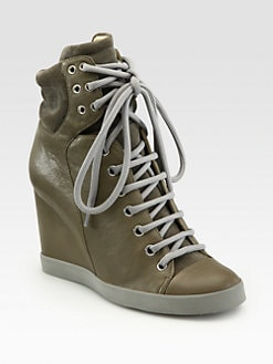 See by Chloe - Leather Wedge Hi-Top Sneakers
