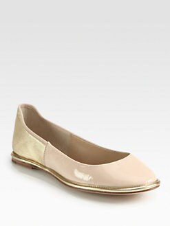 Diane von Furstenberg - Botswana Patent & Metallic Leather Ballet Flats