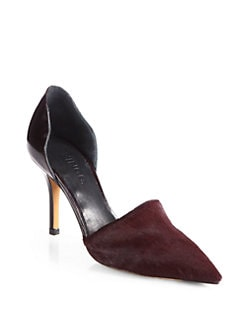 Vince - Claire Choked Up Patent Leather & Pony Hair d'Orsay Pumps