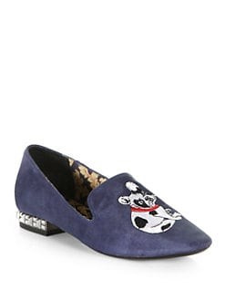 Boutique 9 - Yorocco Embroidered Bulldog Suede Smoking Slippers