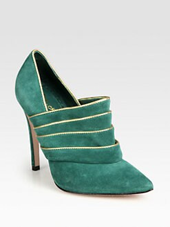 Alice + Olivia - Dame Suede and Metallic Leather Ankle Boots
