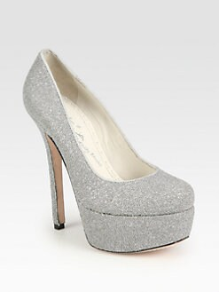 Alice + Olivia - Larimore Glitter-Beaded Platform Pumps