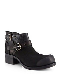 McQ Alexander McQueen - Asymmetrical-Zip Leather Military Ankle Boots