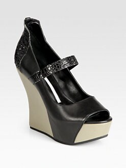 Camilla Skovgaard - Bicolor Leather Platform Wedges