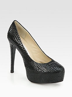 Diane von Furstenberg - Snake-Print Leather Platform Pumps