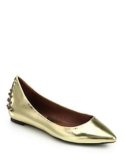 McQ Alexander McQueen - Studded Metallic Leather Ballet Flats