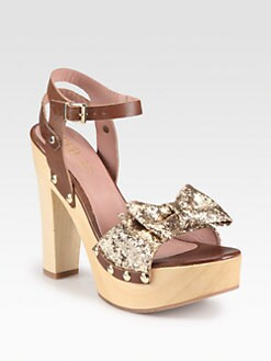 RED Valentino - Leather & Glitter Bow Wooden Platform Sandals