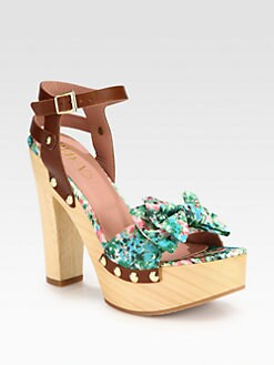 RED Valentino - Meadow-Print Bow & Leather Platform Sandals