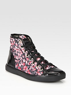 RED Valentino - Floral Satin & Patent Leather Lace-Up Sneakers