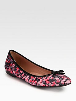 RED Valentino - Floral-Print Patent Leather-Trimmed Ballet Flats
