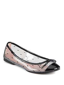 RED Valentino - Patent Leather & Polka Dot Mesh Ballet Flats