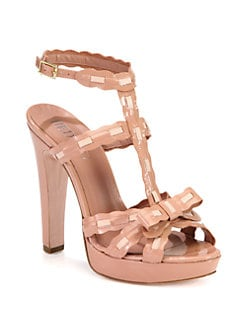 RED Valentino - Patent & Leather T-Strap Platform Sandals